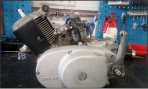 revidierter Simson Duo oder Schwalbe Motor welcher mit Glasperlen gestrahlt wurde