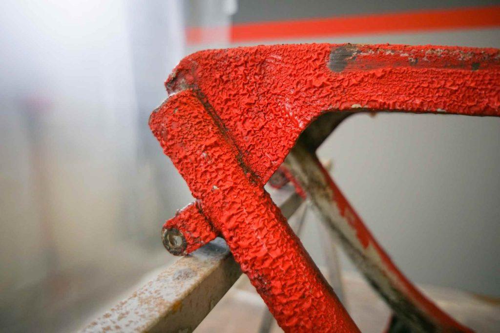Lack entfernen an Simson Schwalbe KR51 Rahmen