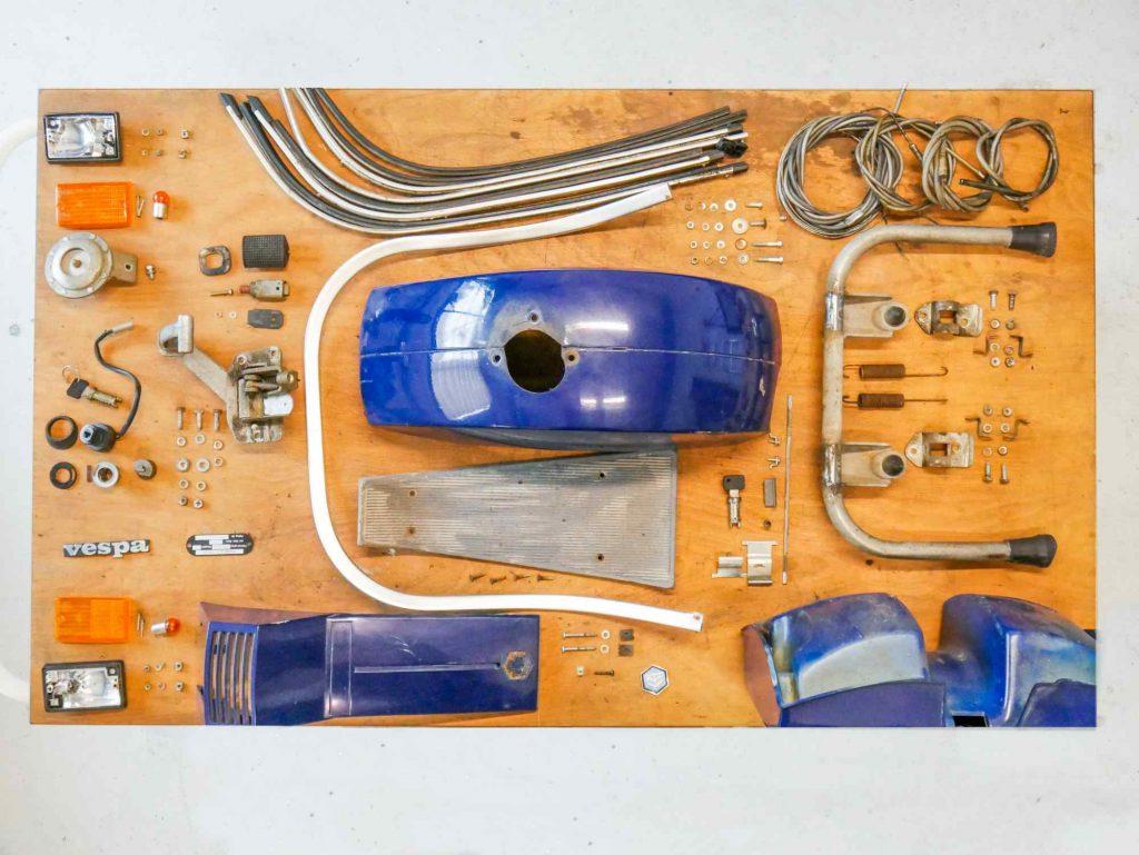 Vespa PK 50 Rahmen vorne Einzelteile